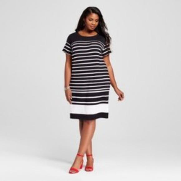 ee2f95e2b79 Black   White Striped T-Shirt Dress - Ava   Viv